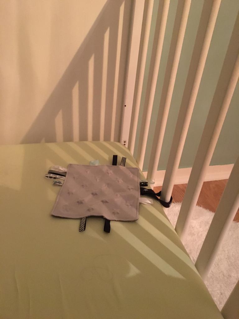 Un doudou plat dans un lit pour bébé